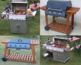 Barbecues with wooden ans stainless steel trolley
